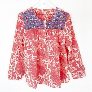 JCrew Embroidered Floral Print Cotton Popover